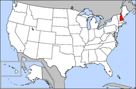 Map of the U.S. with New Hampshire highlighted