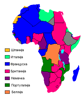Map showing European claimants to the African continent in 1913