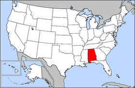 Map of the U.S. with Alabama highlighted