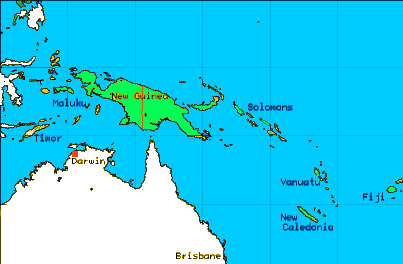 Map showing Melanesia