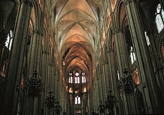 The vaulted nave of Bourges Cathedral