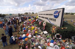 A makeshift memorial at the main entrance to Johnson Space Center