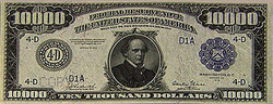 Obverse of $10,000 bill featuring Salmon P. Chase