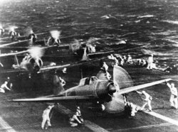 Planes from the Japanese aircraft carrier  preparing the attack on .