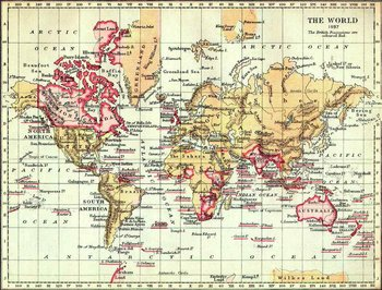 The British Empire in 1897, marked in pink, the traditional colour for Imperial British dominions on maps.