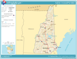 New Hampshire, showing roads, rivers and major cities