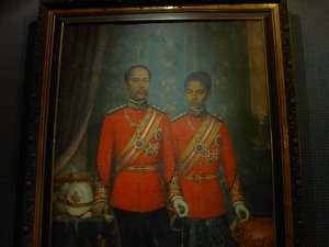His Majesty King Rama V of Siam, with his son, later King Rama VI (portrait in National History Museum, Bangkok)
