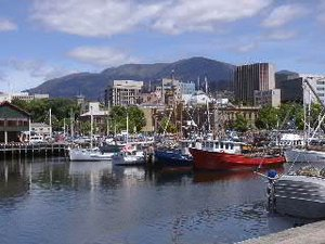 View from the port of the city centre and Mt Wellington