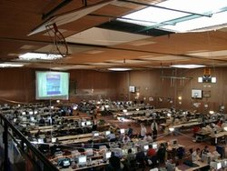 A medium-sized (approximately 300 people) LAN party in a sports hall in northern Germany