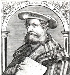 Claudius Ptolemaeus, given contemporary German styling, in a 16th century engraved book