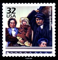 Ellis Island immigrants as depicted in a USPS stamp