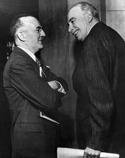 Harry Dexter White (left) and John Maynard Keynes (right) at the Bretton Woods Conference