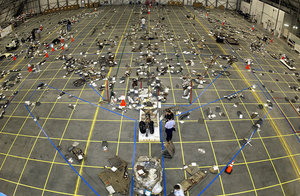 Grid on the floor of the Reusable Launch Vehicle (RLV) Hangar where workers in the field bring in pieces of Columbia's debris. The Columbia Reconstruction Project Team attempted to reconstruct the bottom of the orbiter as part of the investigation into the accident.