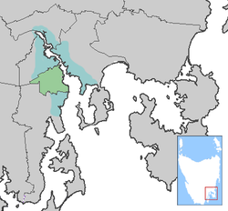 The City of Hobart (green) and Greater Hobart (teal)